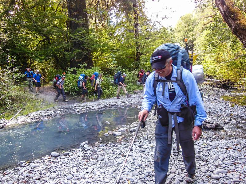 The crew heading through the rain forest.