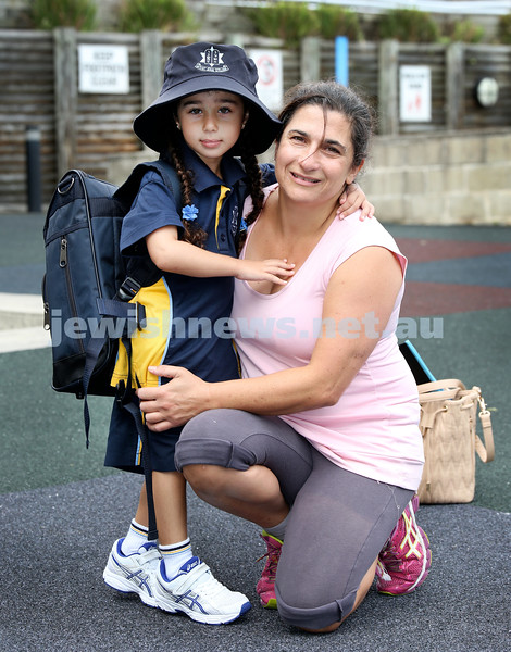 Mt.Sinai School Year K students arrive for their first day at school. Lani Kay with her daughter Shiri. Pic Noel Kessel.