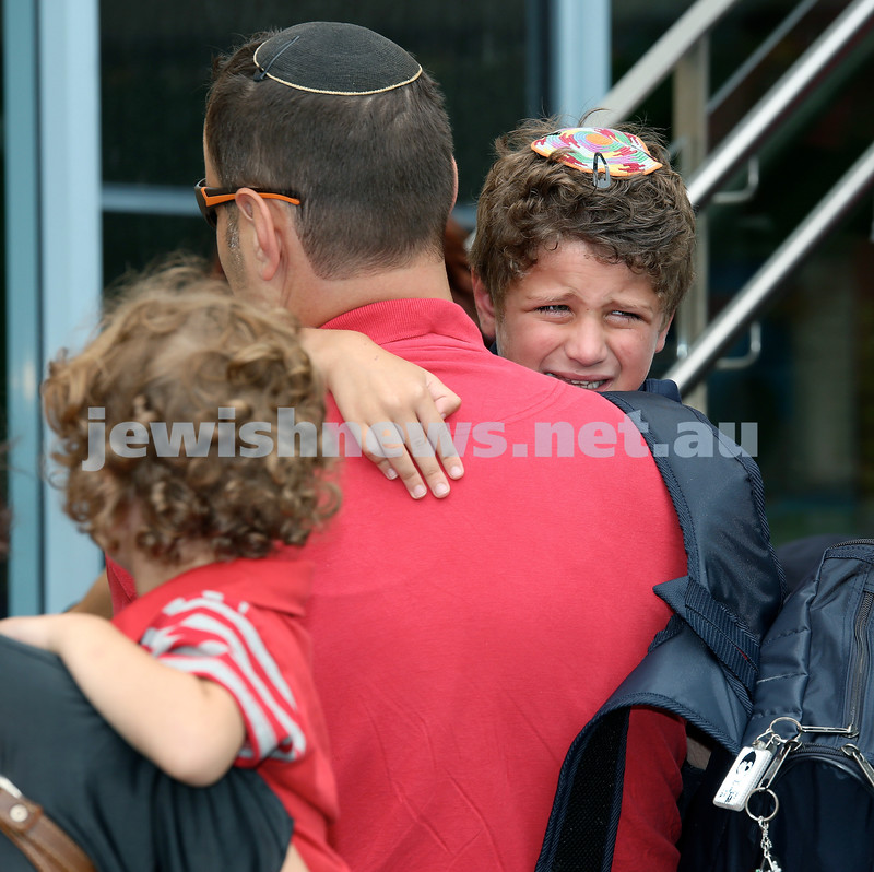 Mt.Sinai School Year K students arrive for their first day at school. Tears are all part of it. Pic Noel Kessel.