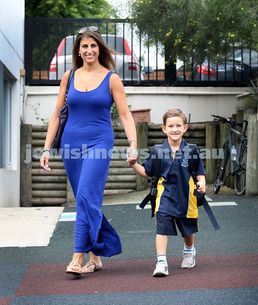 Mt.Sinai School Year K students arrive for their first day at school. Dylan Raber arrives to school with his mum Yael.