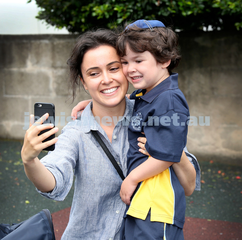 Mt.Sinai School Year K students arrive for their first day at school. Ruchi Donath with her son Toby take selfie pics. Pic Noel Kessel.