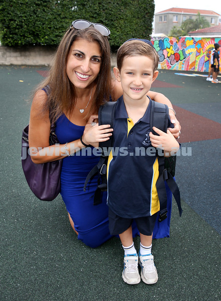 Mt.Sinai School Year K students arrive for their first day at school. Dylan Raber with his mum Yael. Pic Noel Kessel.