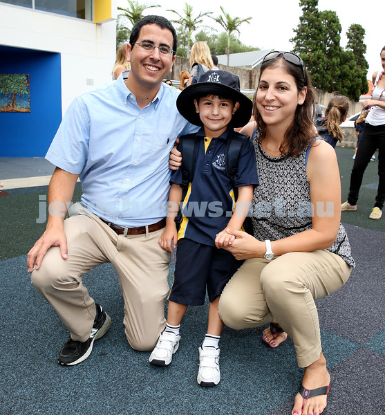 Mt.Sinai School Year K students arrive for their first day at school. Samuel and Miri heitner with their son Itai. Pic Noel Kessel.