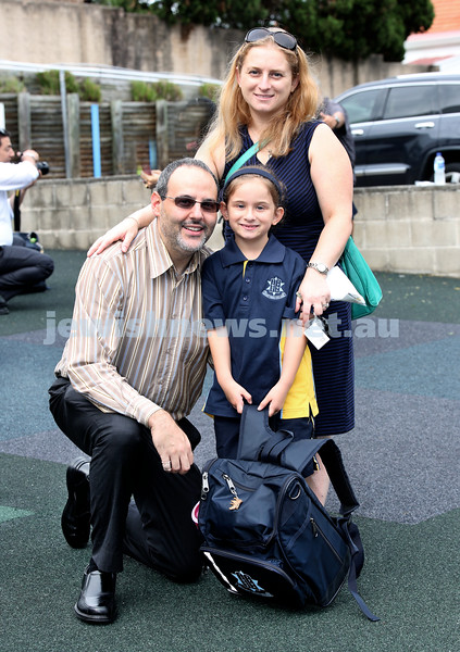 Mt.Sinai School Year K students arrive for their first day at school. Sophie Lemish with her parents Daniel & Tania. Pic Noel Kessel.
