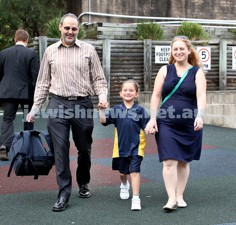Mt.Sinai School Year K students arrive for their first day at school. Sophie Lemish arrives at school with her parents Daniel & Tania. Pic Noel Kessel.