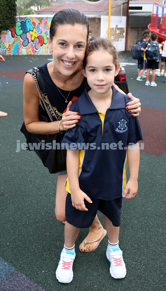 Mt.Sinai School Year K students arrive for their first day at school. Morgan Penn with her mum Nadine. Pic Noel Kessel.