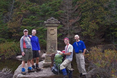 We reached the Henderson Monument, erected in memory of David Henderson who was accidentally shot and killed (the 'calamity' to which the Calamity Brook Trail is named after) on this spot while scouting for additional water sources to power the blast