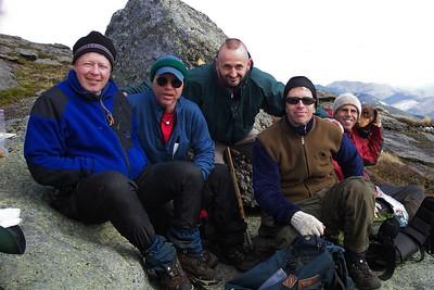Mike, Mark, Tom, Jon, Johnny and Katahdin on summit of Marcy