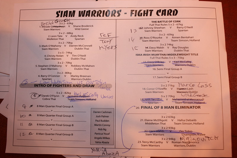 Siam Warriors Show - Fight card with changes