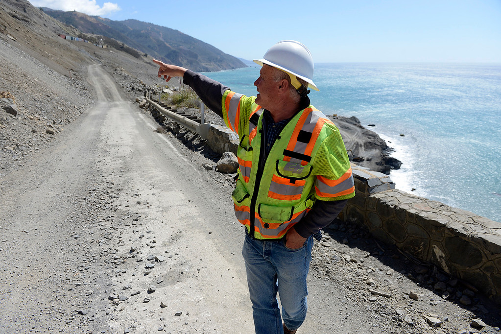 . Cal Trans engineer Wayne Walker at the north end of the Mud Creek Slide in southern Monterey County on Highway One on Thursday, Sept. 21, 2017.   (Vern Fisher - Monterey Herald)