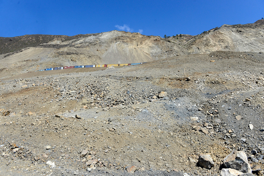 . Looking up on the southern portion of the Mud Creek Slide in southern Monterey County on Highway One on Thursday, Sept. 21, 2017.   (Vern Fisher - Monterey Herald)