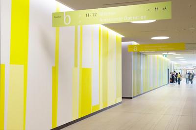 Farbwand Erdgeschoss Westteil, bei der Eingangshalle. Foto: Burghard Müller-Dannhausen