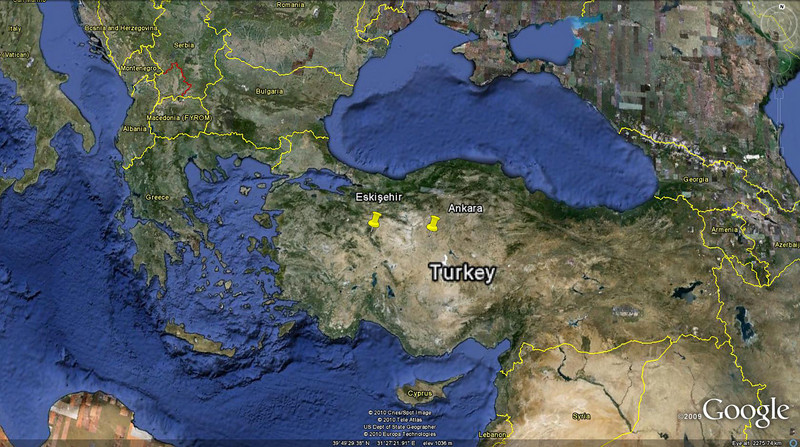 Map of Turkey showing location of the two cities where I spent time.