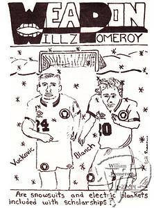 "WEAPONa cartoon:based on the ""sports scope"" at college.  The Pierce Arrow JANUARY 1994"