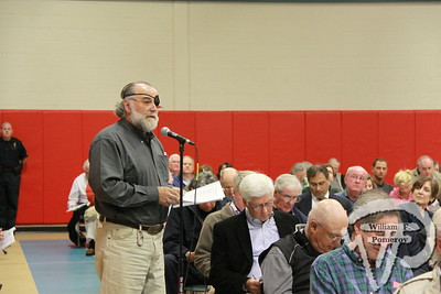 Town meeting opened Monday evening at the Harwich Community Center.  Here, Leo Cakounes addresses the assembly.