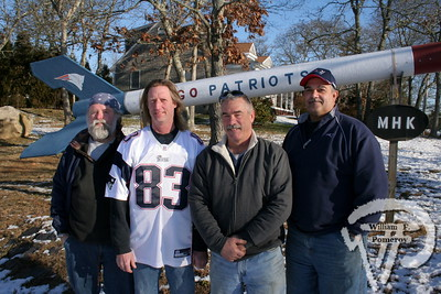 Creator Jay Hannon (in Patriots jersey), creator of a Patriot missile,  with his buddies John O'Bea, Steve Gallerani and Skip Raneo  are ready for this Sunday's match-up against Houston.  Harwich Oracle January 9, 2013 front page