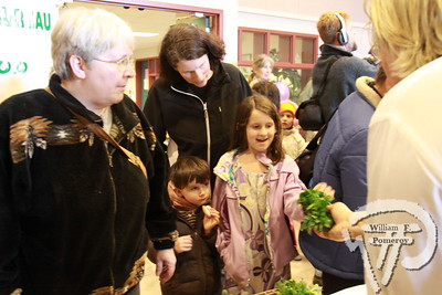 Susan Blood of Orleans watches as her children Simon, 5,  and Lucy, 8, try fresh mesclun, mustard and raw spinich  from Billy Snowden from Yarmouthport's Hawks Wing Farm. Harwich Oracle MARCH 16, 2011page 7