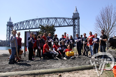 Volunteers from Boston University worked together on a site improvement project, interpretive information on the Cape Cod Canal.
