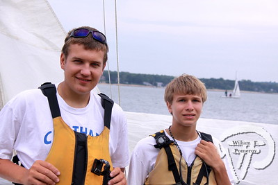 Michael Mazulis with Noah Firman  of Pleasant Bay Community Boating.