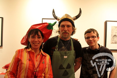 Cotuit Center for the Arts own Karen Santos beside Krazy Karl's Nuclear Meltdown Chili own Karl and Marshall Robsham.