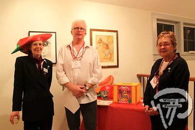 Cotuit Center for the Arts front of house manager Christianne Arnold along with Sean McCahill and fellow ballot box volunteer Dianne Gerry-McCahill.