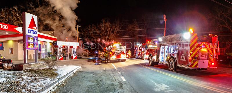 Multi Vehicle Fire - Lake Service Station - Beekman Fire District - 02/13/16