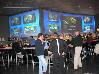 2 Giant LumaGlass Screens over bar at CBS Scene. Sports fans can watch the games LIVE ON BIG SCREENS!