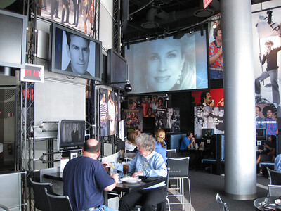 Patrons enjoying lunch & watching their private tv CBS station
