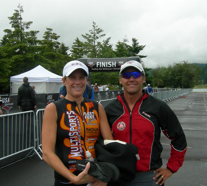 Kerry and Coach Mike (40-44 Aquathon National Champion) after the race