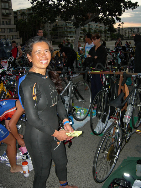 Cathy Lee-Saxton is ready to swim - an HOUR before the start.