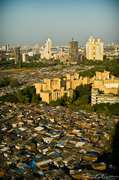 Slums below the Nehru Science Centre and Planetarium, Mumbai
