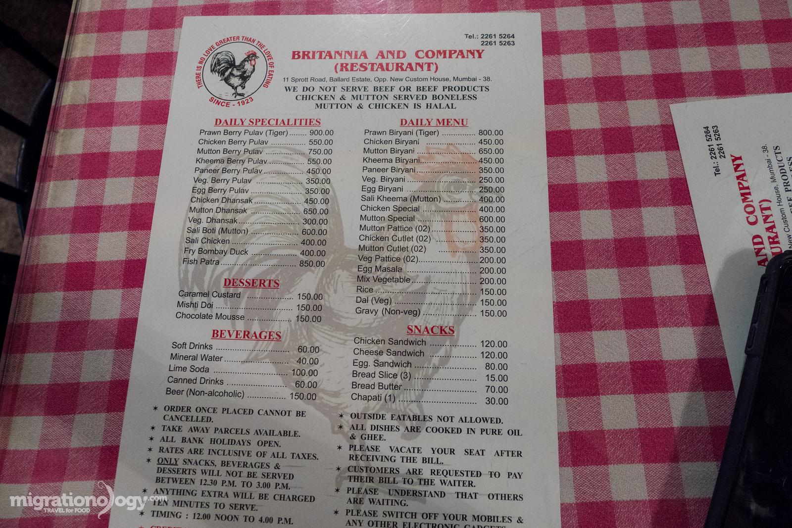Britannia & Co. Restaurant menu
