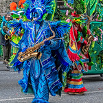 Blue Costumed Sax Player