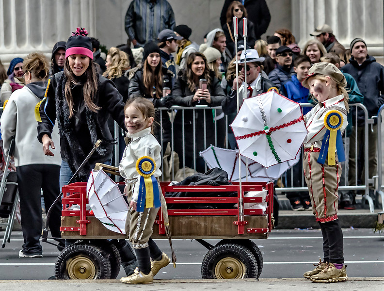 Two Young Mummers with a Wagon