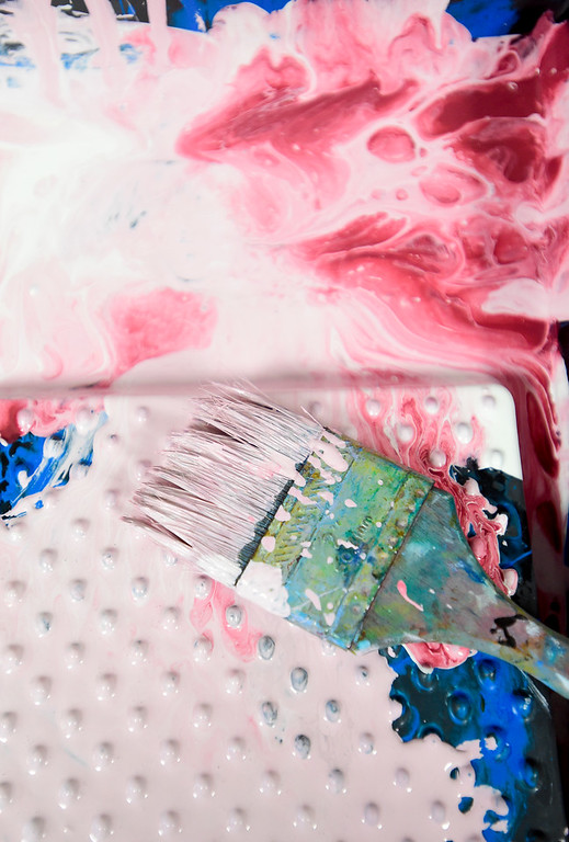 . BROOMFIELD, CO - APRIL 8:A paint brush sits in a tray after students at Westlake Middle School worked with Artist Michael Gadlin on a mural in Broomfield on April 8, 2019. (Photo by Matthew Jonas/Staff Photographer)