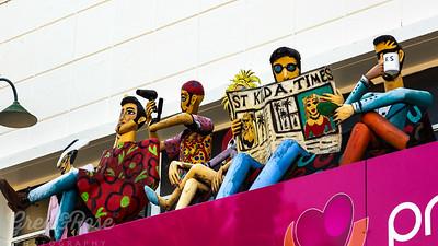 Fun art on Shop Verandah St Kilda,, Barber and customers