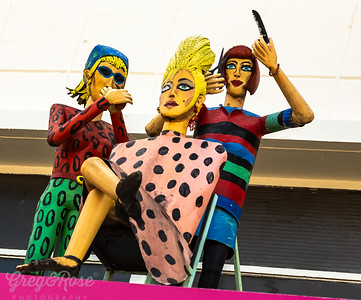 Fun art on Shop Verandah St Kilda, Hairdressers at work