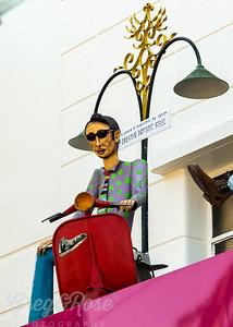 Fun art on Shop Verandah St Kilda, Vespa and all