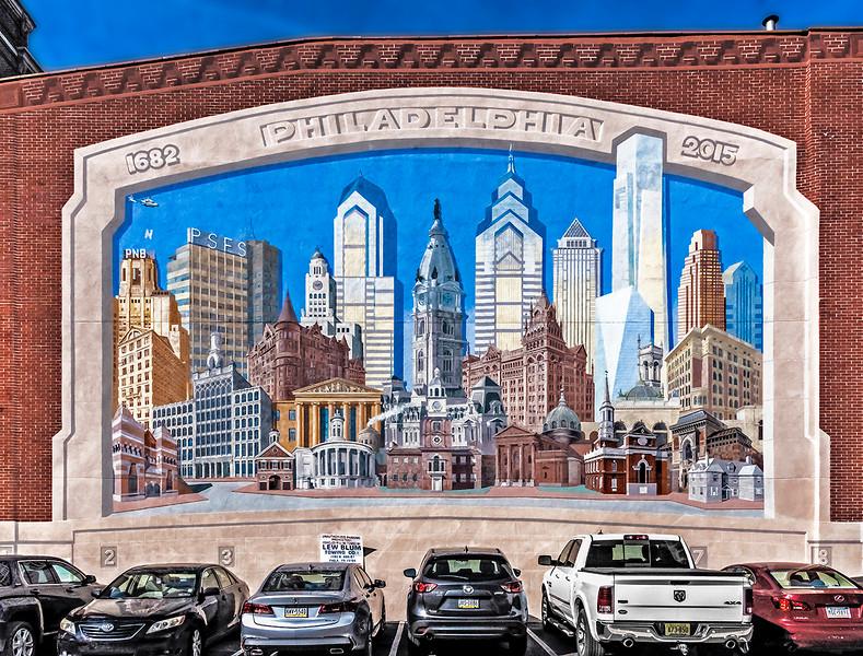 Collage of Famous Philadelphia Buildings Mural