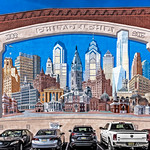 Collage of Famous Philadelphia Buildings Mural