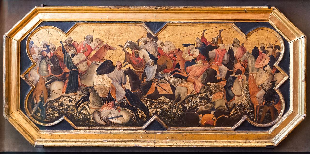 Gherardo Starnina: Kampf orientalischer Reiter [Um 1400-1405, Lindenau-Museum Altenburg]