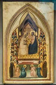 Bernardo Daddi, Werkstatt: Krönung Mariens mit Engeln und Heiligen [Um 1340, Lindenau-Museum Altenburg]