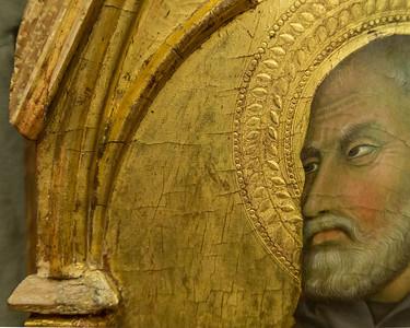 Werkstatt des Barna da Siena(?): Heiliger in Mönchskutte, Detail [Um 1330(?), Lindenau-Museum Altenburg]