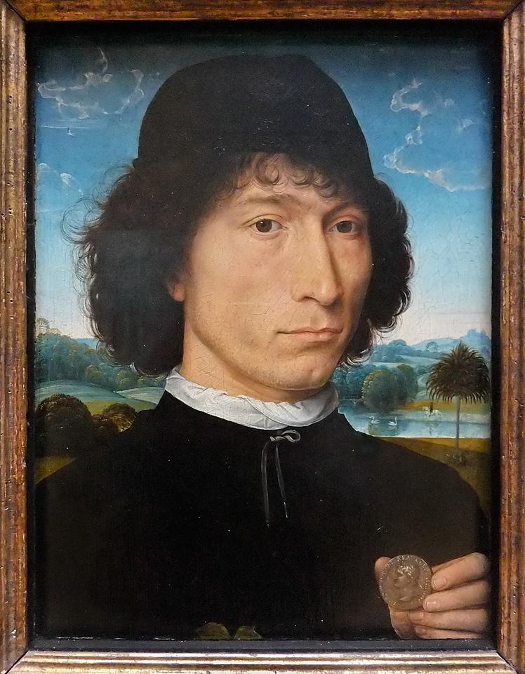 Hans Memling: Mann mit römischer Münze (Antwerpen, Museum der Schönen Künste)