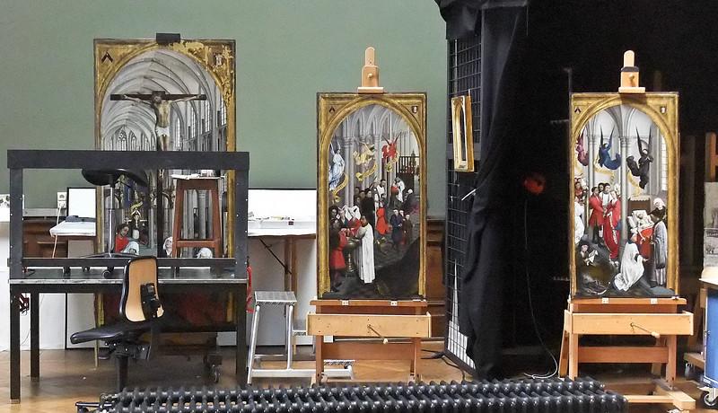 Rogier van der Weyden: Sakramentsaltar; in Restaurierung (Antwerpen, Museum der Schönen Künste)