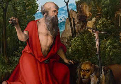 """... und ziehen sich büßend in die Wüstenei zurück (""""Der hl. Hieronymus"""", Hans Schäufelein, um 1504, noch in der Gemäldegalerie)"""
