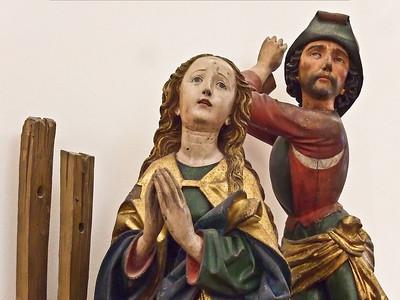 """Der Angriff aus dem Hinterhalt (""""Die Enthauptung der hl. Katharina"""",Michel Erhardt, um 1480, noch im Bode-Museum)"""