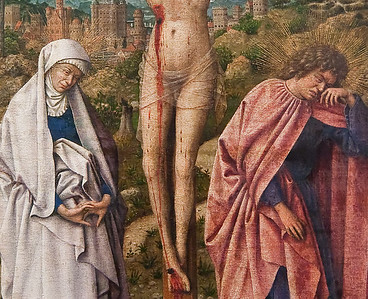 """Verzweifelte Klagen (""""Christus am Kreuz mit Maria und Johannes"""", Jan van Eyck-Werkstatt, um 1435, noch in Gemäldegalerie)"""