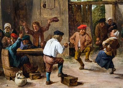 """Aber dann ist Grund, ein richtiges Fest zu feiern (""""Flämische Kirmes"""", David Teniers d.J., 1640, noch in der Gemäldegalerie)"""
