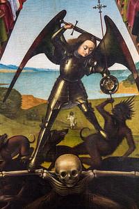"""Der Kampf tobt hart (""""Das Jüngste Gericht"""", Petrus Christus, 1452, noch in der Gemäldegalerie)"""